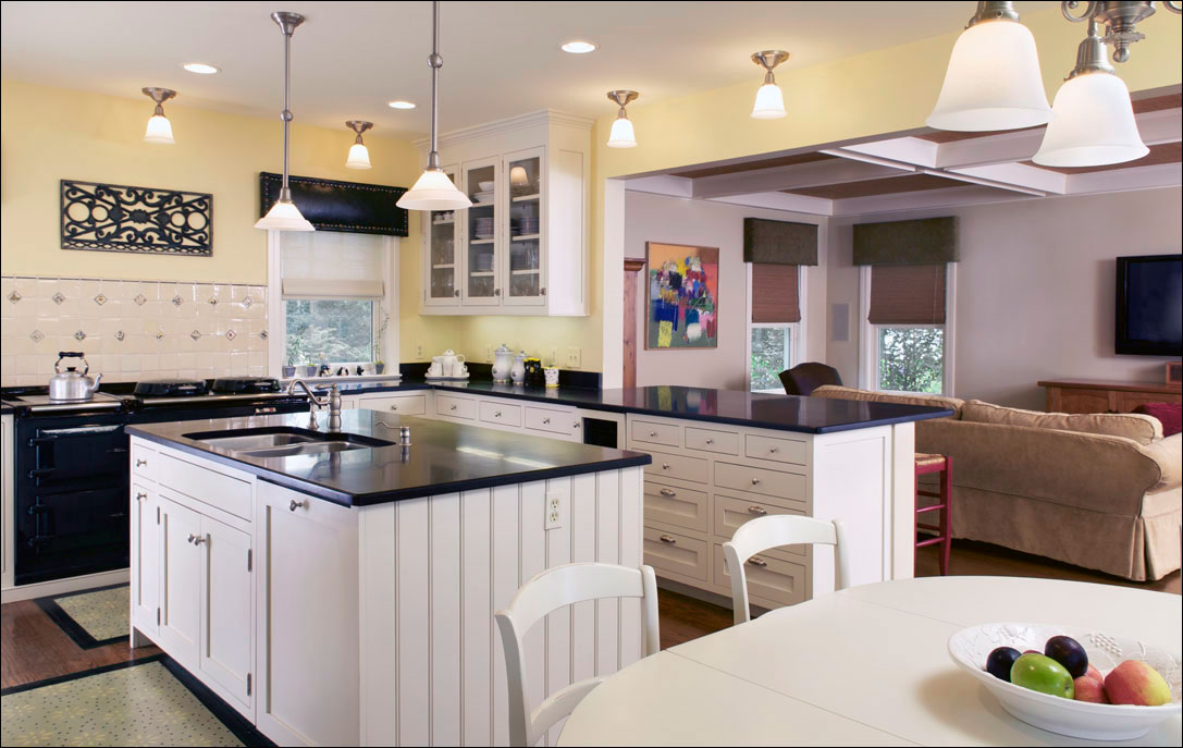 residential kitchen with white cabinetry