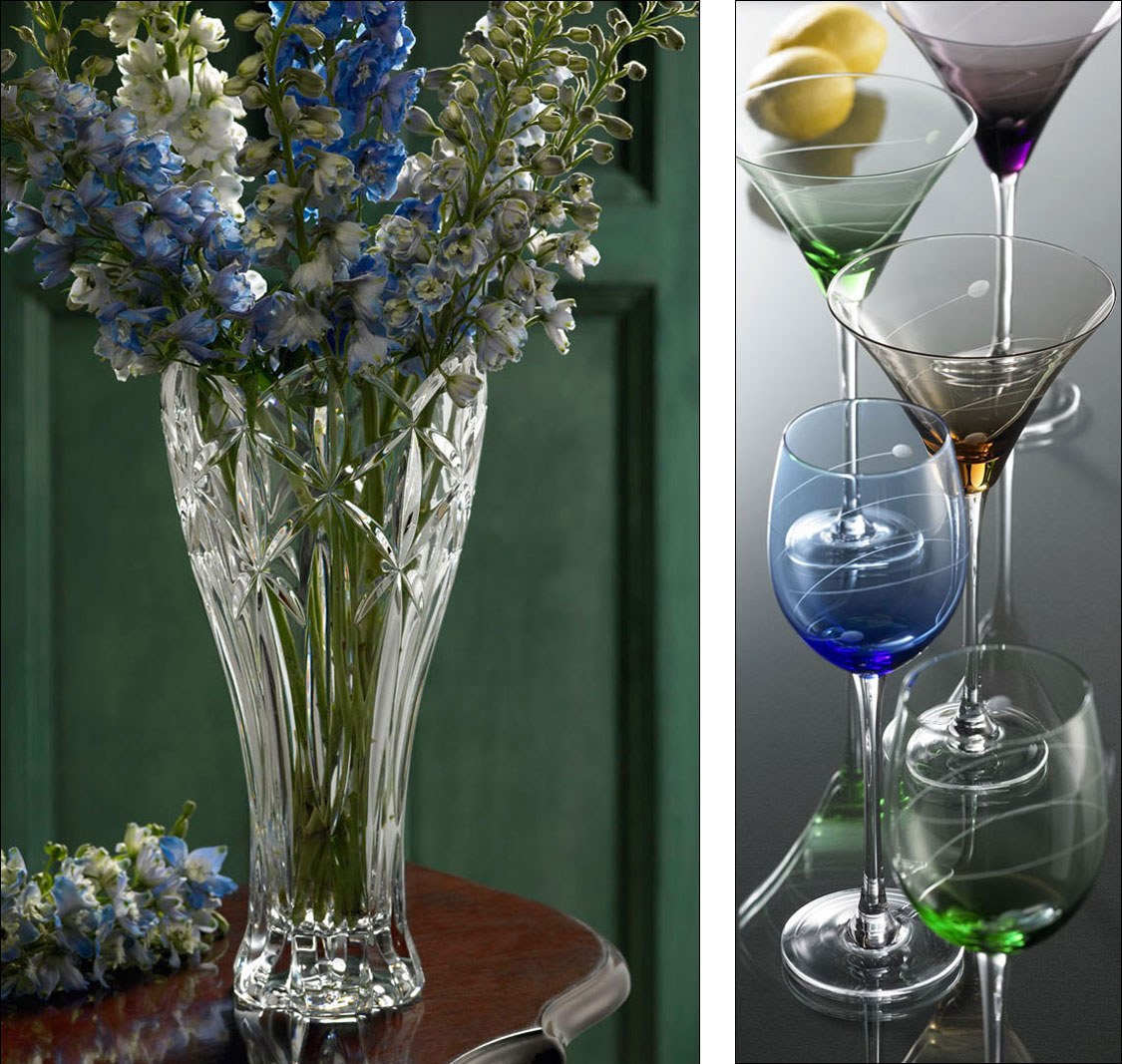 product photography of glassware and flower vase