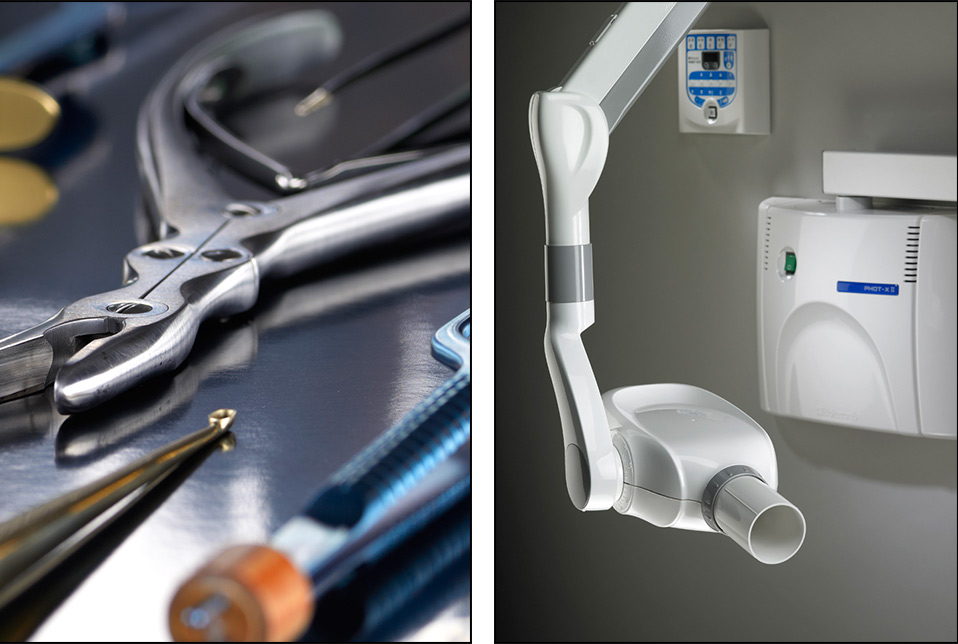 medical device photography of x-ray machine with instruments