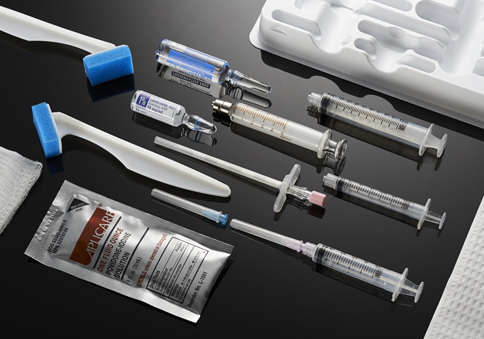 medical product photography of syringes