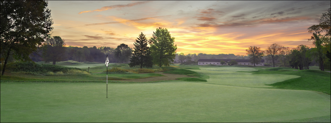golf course photography sunset green